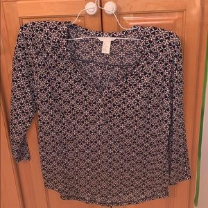 Patterned blouse navy and pink